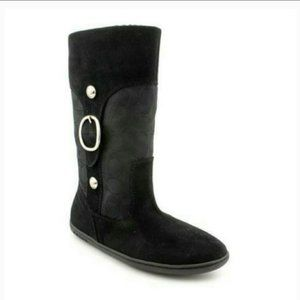 Coach Meyer Size 9 Black Lined Suede Boots